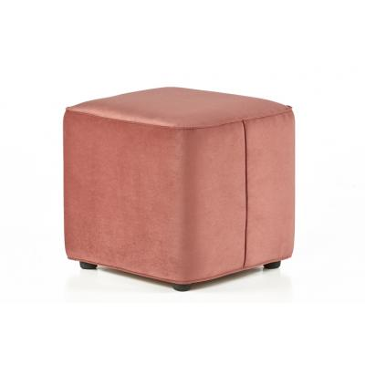Taburet patrat Cocktail, structura din lemn, catifea impermeabila, roz pudrat, 45x45x42cm
