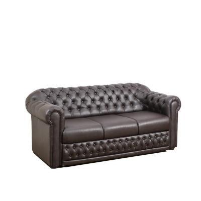 Canapea fixa Chesterfield Clasic, culoarea Negru, piele ecologica