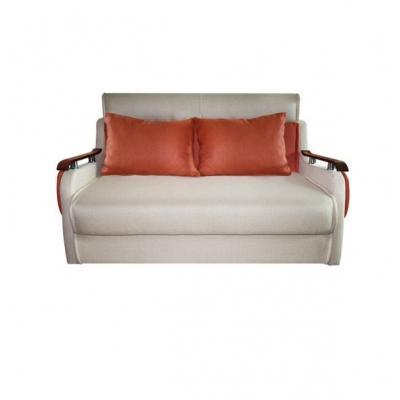 Canapea extensibila 2 locuri, Nora, culoarea Crem/ Caramiziu