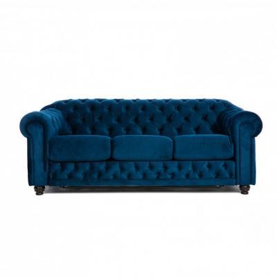Canapea fixa Chesterfield Clasic, culoarea Albastru