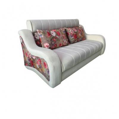 Canapea extensibila 3 locuri, extensie tip pat matrimonial, Studio, culoarea Alb cu flori