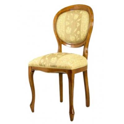 Set de 4 scaune din lemn masiv, Oval, nuc