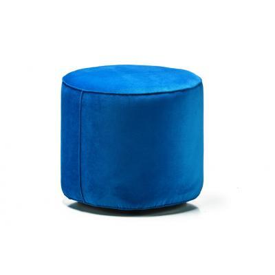 Taburet rotund Simonetti, structura din lemn, catifea impermeabila, dark blue, D47 X H42cm