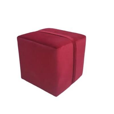 Taburet patrat cu bretea, structura din lemn, catifea impermeabila, rosu, 45x45x42cm