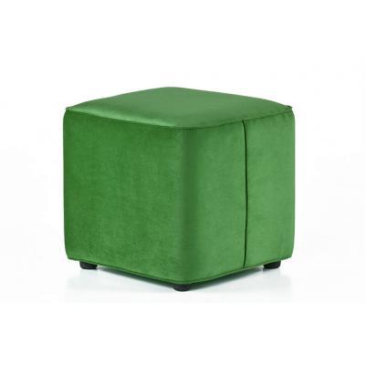 Taburet patrat Cocktail, structura din lemn, catifea impermeabila, verde, 45x45x42cm