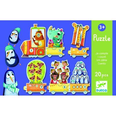 Puzzle Djeco Trenuletul cu animale numarate